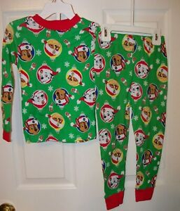 Paw-Patrol-Christmas-Candy-Cane-Green-Toddler-2-Piece-Long-Pajama-PJ-Size-2T-NWT