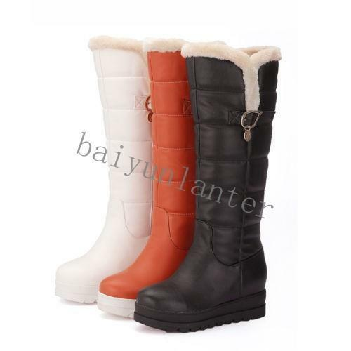 Women Fur Winter Snow Boots Waterproof  Wedge Heel Platform Knee High Boot shoes