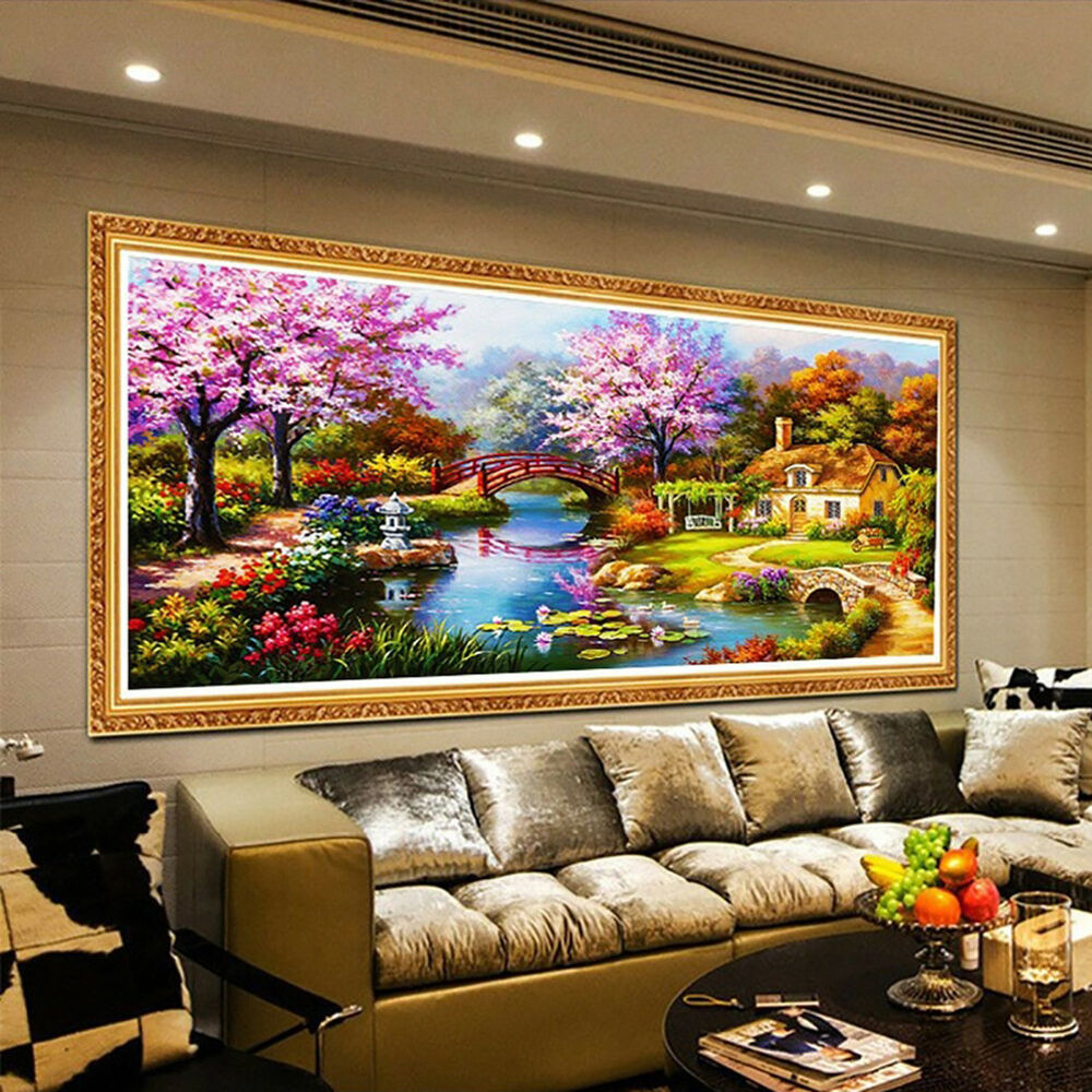 5D Diamond Painting Scenic Plant Flower House Landscape DIY Wall Decor Craft New Crafts