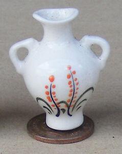 Escala 1:12 Crema y Naranja Florero de cerámica 3.5cm tumdee Ornamento De Casa De Muñecas Cro12