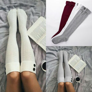 3664a1b2c Women Ladies Winter Warm Knit Over Knee Thigh High Soft Socks ...