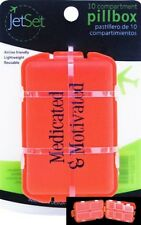 """(New) JetSet 10 Compartment """"Medicated & Motivated"""" Pill Box - Airline Friendly"""
