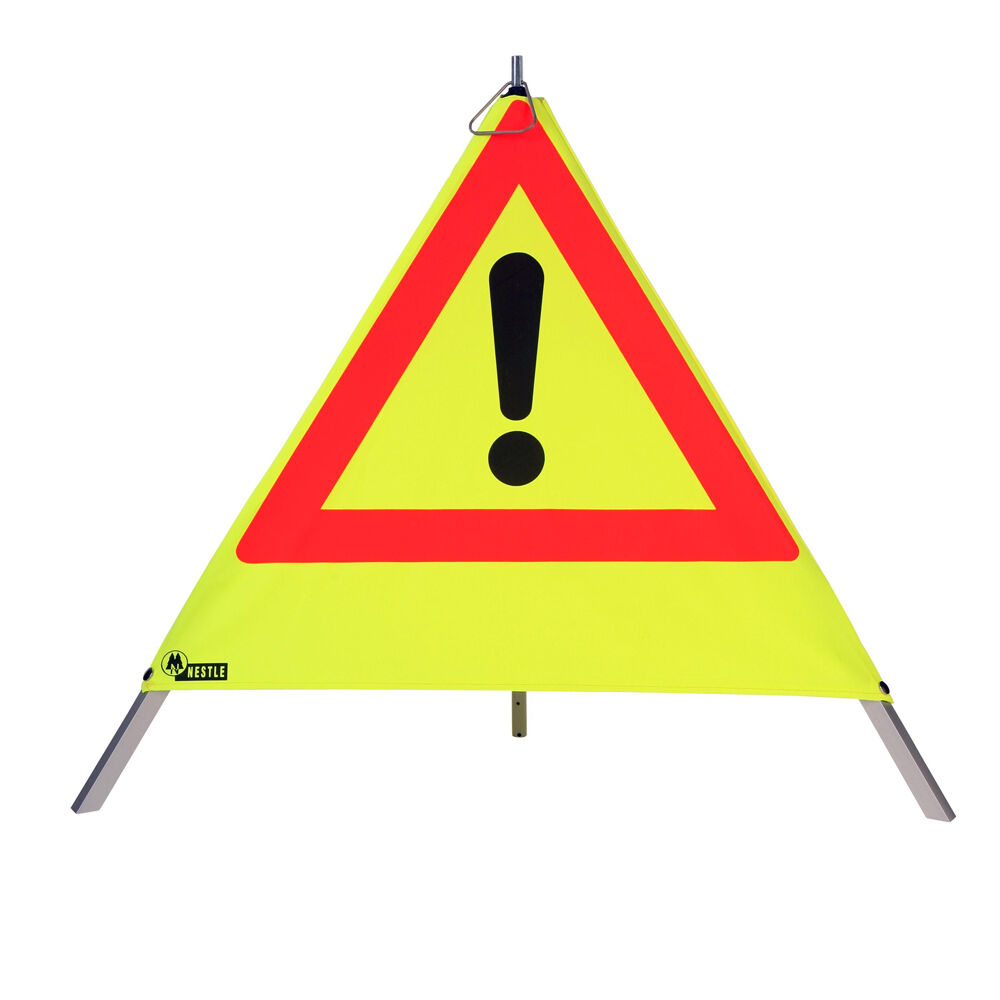 s l1600 - NESTLE Pirámide de Advertencia 70cm, Amarillo, con Muelle, 200 Rótulo a Elección