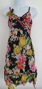 Para-mujer-Joe-Browns-Negro-Floral-Vestido-Asimetrico-Flor-Boton-Con-Tiras-Flippy-10