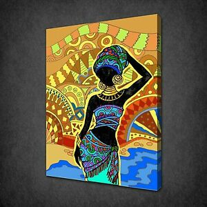 ABSTRACT AFRICAN DANCERS 3 PANELS CANVAS PRINT PICTURE WALL ART FREE UK P/&P