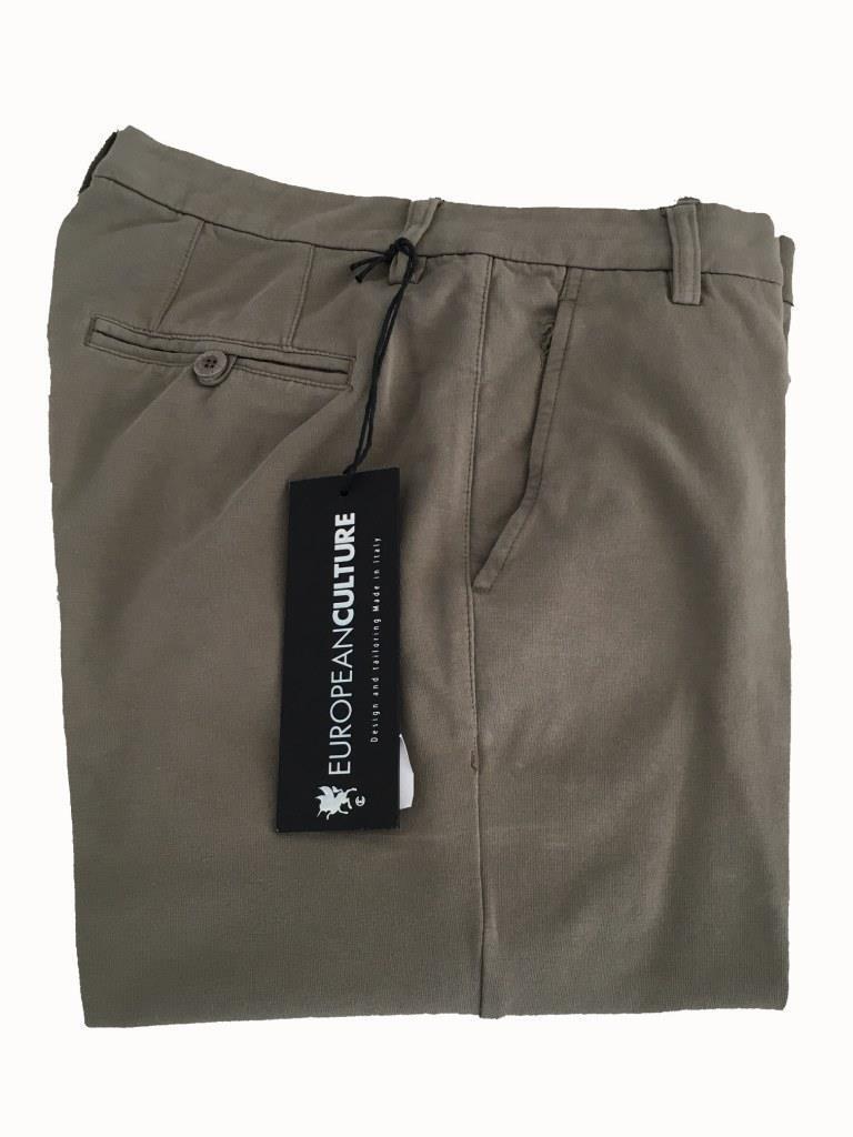 European Culture Pantalons Femme Couleur Boue avec Évent en Bas Sweat-Shirt Gaze