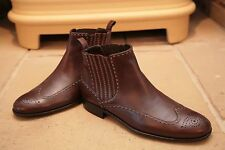 Bottega Veneta Men's Made in Italy Brown Leather Chelsea Brogues Boots UK 9