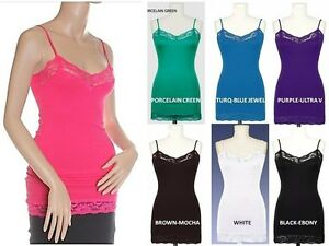 9545e3085c90d LACE LAYERING CAMI TANK TOP PLUS SIZE LONG ADJUSTABLE SPAGHETTI ...