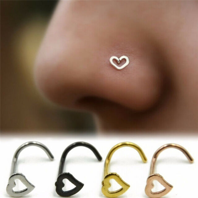Stainless Steel Piercing Nose Ear Lip Ring Hoop Love Nose Ring Punk Jewelr RACA