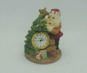 Vintage Christmas Ceramic Of Santa Tree Figurine W Quartz Clock Ebay