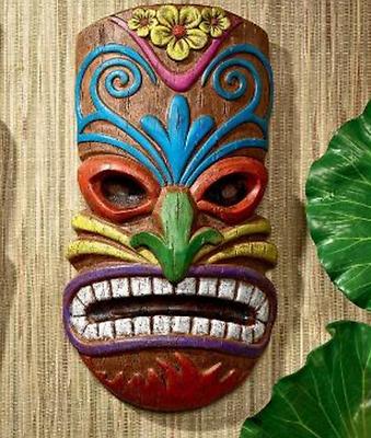 HAWAIIAN ISLAND TIKI TEETH WALL MASK SCULPTURE Polynesia Pool Tropical Luau Art