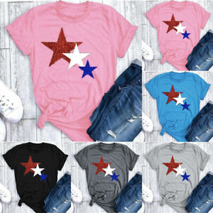 Womens-Short-Sleeve-Star-Printed-Loose-Casual-Summer-Beach-Basic-Tee-T-Shirt-Top