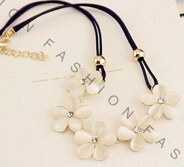 Fashion Women Flower Charm Crystal Choker Chunky Statement Bib Chain Necklace