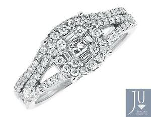 Fine Rings Jewelry & Watches Forceful White Gold Bridal Cluster Diamond Split Shank Wedding Engagement Ring Set .77ct Pure White And Translucent