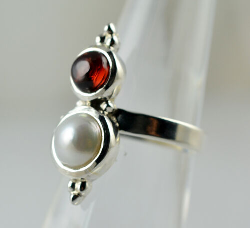 Garnet Ring 925 Sterling Silver Handmade Jewelry Size 3-13 US Fresh Water Pearl