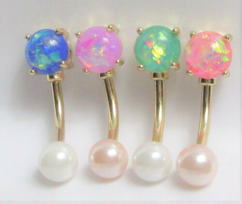 14k Gold Plated White Pink Pearl Opal VCH Vertical Clitoral Clit Hood Ring 14G