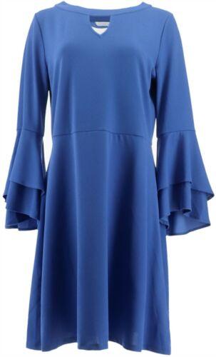 Isaac Mizrahi Pebble Knit Keyhole Dress Ruffle Slvs Blue Azure XL NEW A309994