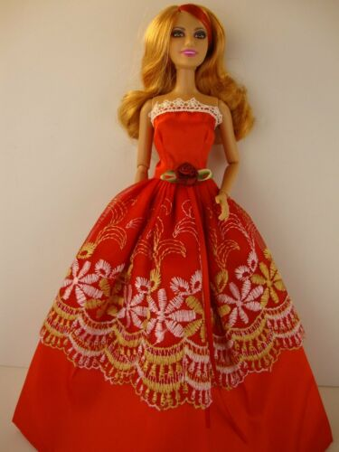 Red Ball Gown with White and Gold Floral Lace Accents Made to Fit Barbie Doll