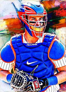 2021 James McCann New York Mets 7/25 Art ACEO Sketch Print Card By:Q