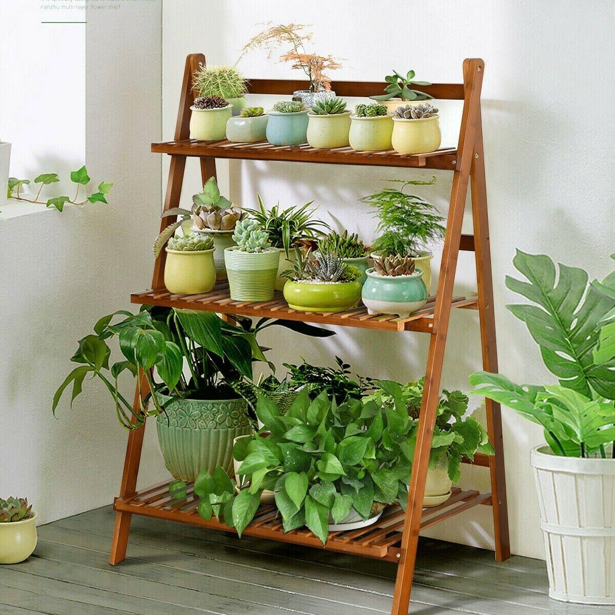 Soporte de la planta al aire libre plegable de 3 niveles Estantes De Bambú Natural tamaño variable