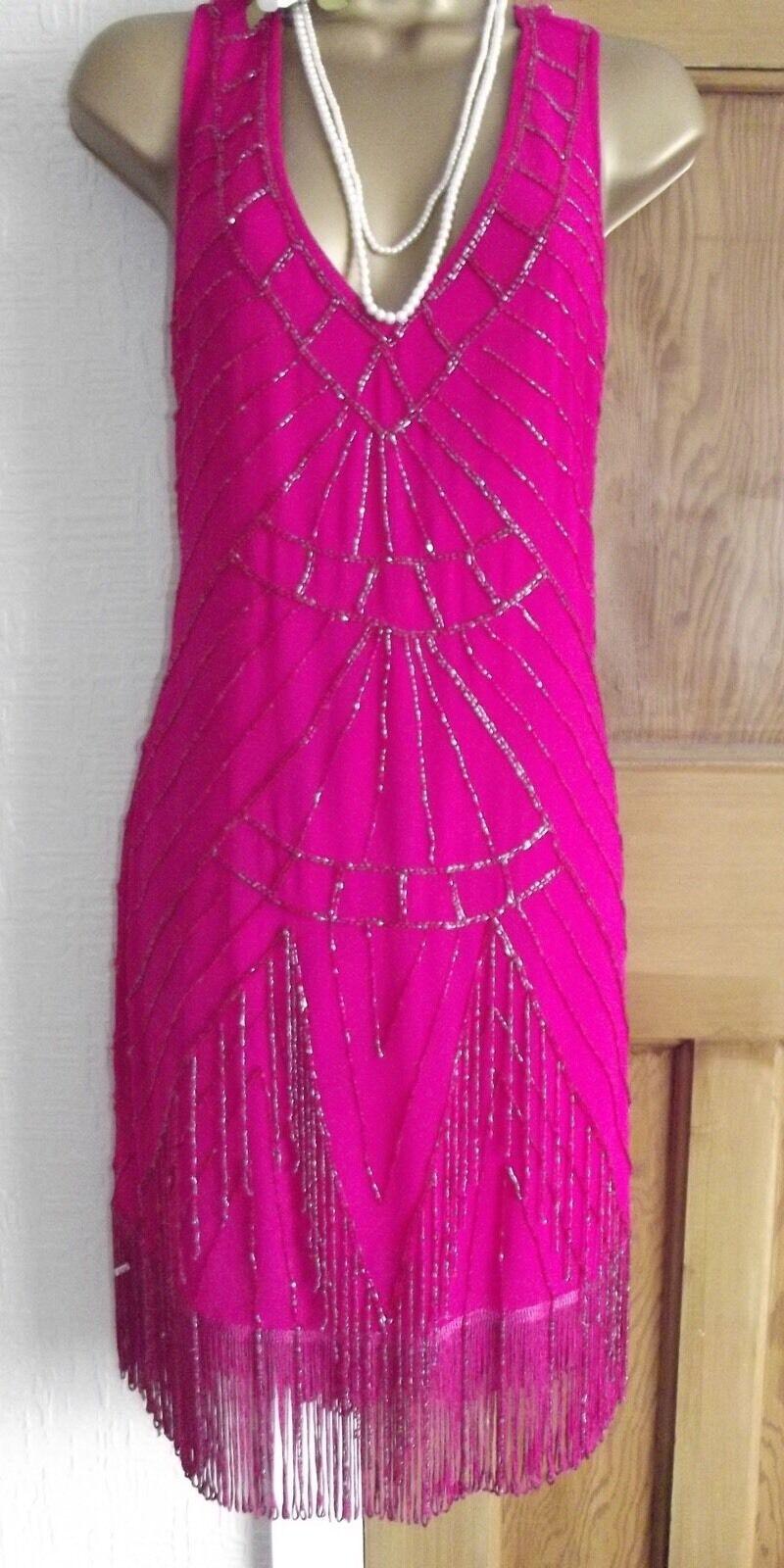Jane Norman  ️ BNWT Pink Beaded Tassel 1920's Flapper Gatsby  Dress Size 8