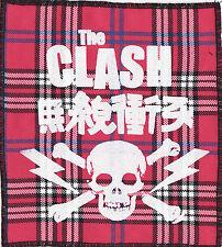 THE CLASH PINK TARTAN SEW ON PATCH JAPANESE SKULL LIGHTNING BOLT PUNK 1977