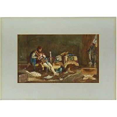 Antique Classical History Watercolour Painting Bad Tiding Thomas Gedge Cheeseman