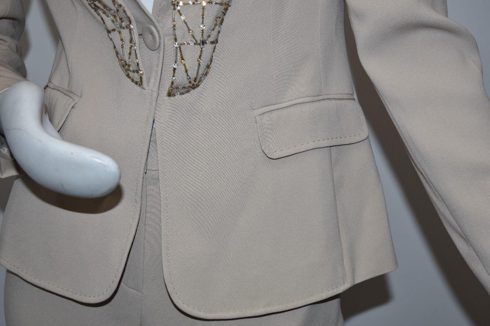 Neu ESCADA 2 PC Hose Anzug Gold Perlen Blazer Seide Hose Solitare Beige 36