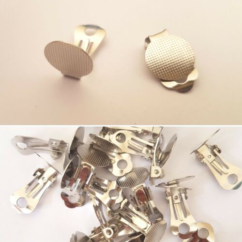 10mm 12mm or 15mm SILVER COLOR CLIP ON EARRING COMPONENTS FLAT BACK GLUE ON