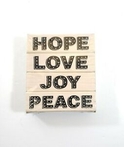 Hero-Arts-Stamp-Set-Brand-New-Sealed-Hope-Love-Joy-Peace-Stamps-Wooden-Rubber