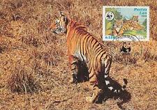 STAMP. FDC.Laos. WWF World Wildlife Fund. # 517, Tiger Panthera Tigris.1984.Lao