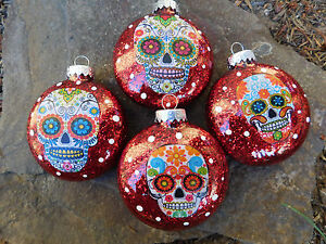 Sugar Skulls Decorated Glass Christmas Ornaments - Set of 4 | eBay