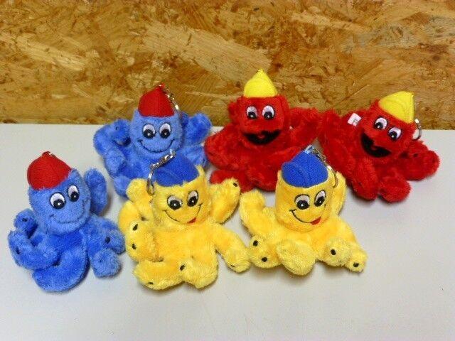 30 x Tinti Schlüsselanhänger Plüsch gelb rot blau - Neu - Tintenfisch Anhänger