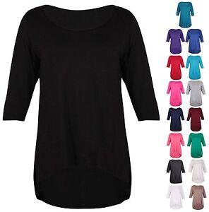 Womens-Plain-3-4-Sleeve-Ladies-Stretch-Fishtail-Dipped-Hem-T-Shirt-Top-Plus-Size