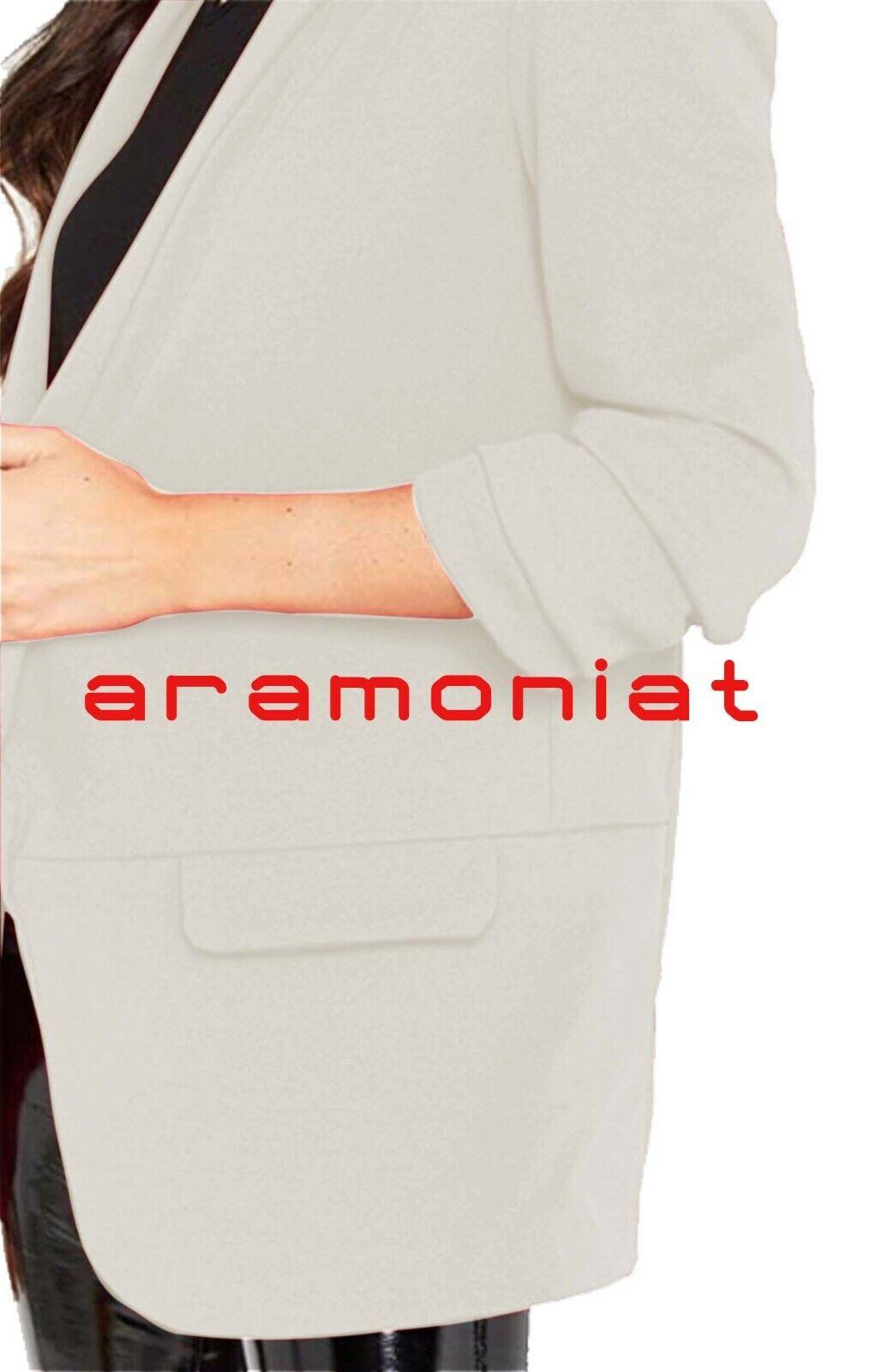Women Ladies Ruffle Frill 3/4 Sleeve Stylish New Long-Line Dust Coat Blazer 8-26