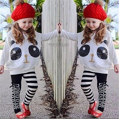 Baby girl clothes kids girls tops+pants Set Outfits autumn clothing panda AA