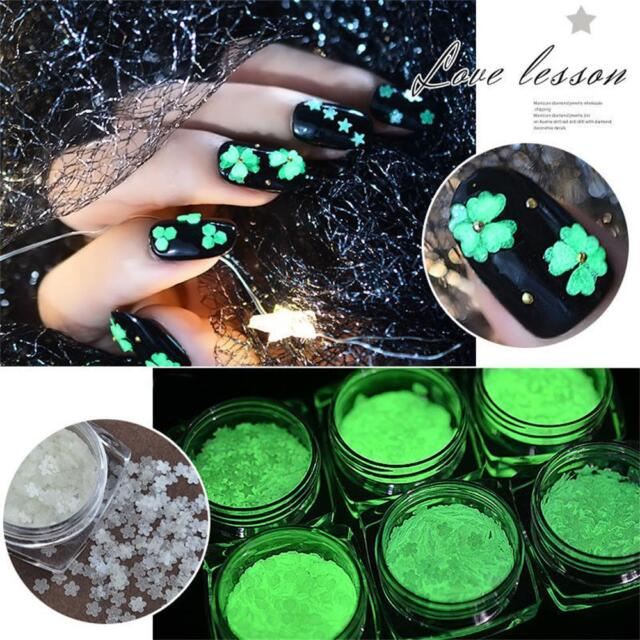 Fluorescent Luminous Nail Art Flakes Heart Star Sticker Sequins Glow in the Dark