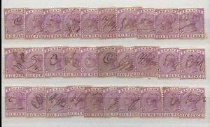 BAHAMAS QV 1890 6d SG54 FISCAL USED...LIGHT MANUSCRIPT...30 stamps