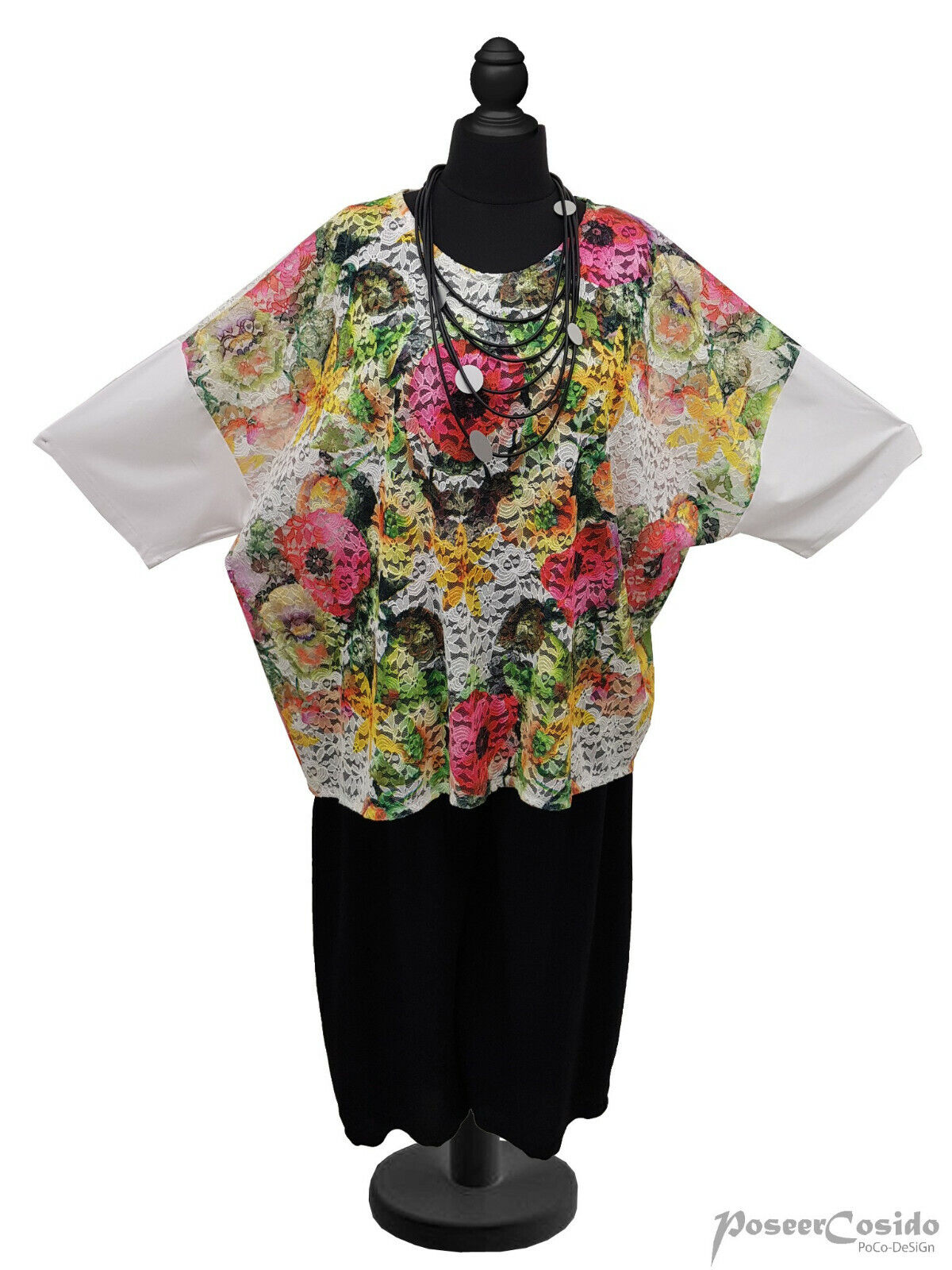 LAGENLOOK Spitze Tunika Shirt Überwurf OverGröße 48 50 52 54 56 58 XL-XXL-XXXL