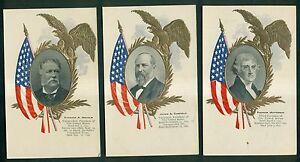 1906 Presidential Photo Series Embossed Postcards - Jefferson,Arthur,Garfield