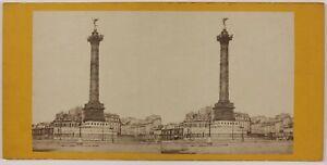 Place-Da-La-Bastille-Parigi-Francia-Foto-Stereo-L6n49-Vintage-Albumina-c1870