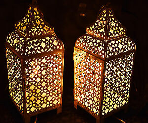 Image Is Loading Pair Of Moroccan Copper Table Lamp Bed Side