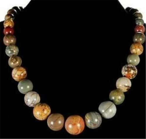 6-14 mm naturel multicolore Picasso Jasper perles Collier 18/""
