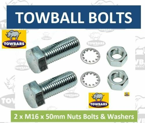 8.8 Zinc Plated Towbar 2 x Towball Nut Bolts /& Washers M16 x 50 High Tensile