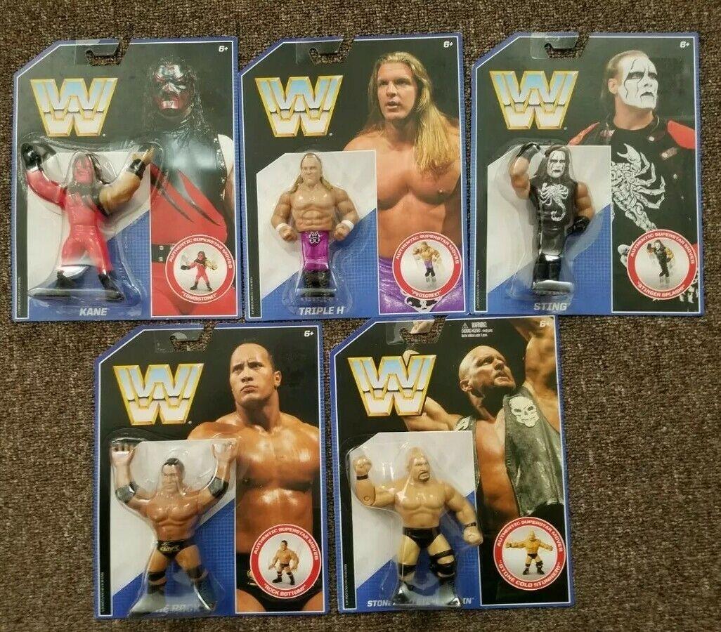 WWE Mattel Retro lot of 5 Kane, The Rock, Steve Austin, Sting, Triple H