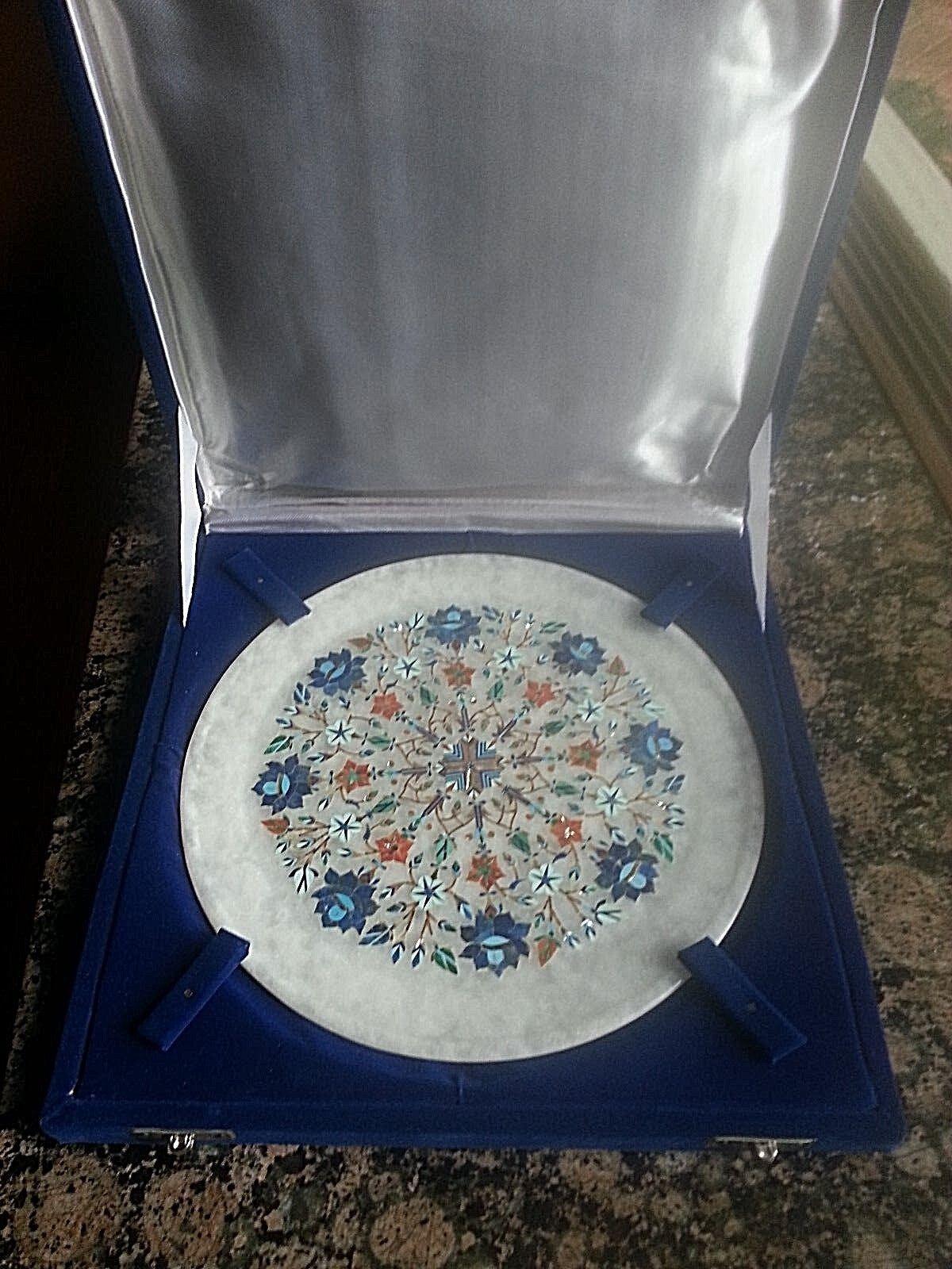 VTG 9  Marble Plate Lotus Flower semi Precious Pietra Dura Marquetry Inlay India