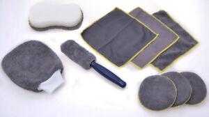 9-tlg-Microfibre-Kit-de-Nettoyage-Voiture-Auto-Entretien-Vernis-Brosse-Eponge