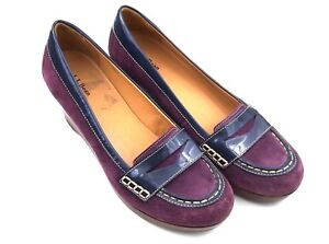 LL-Bean-Womens-Shoes-9M-Purple-Penny-Loafers-Suede-Leather-Slip-On-Wedge-Moc-Toe
