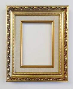 Picture Frame 5x7 Vintage Antique Style Baroque Gold Ornate Linen W