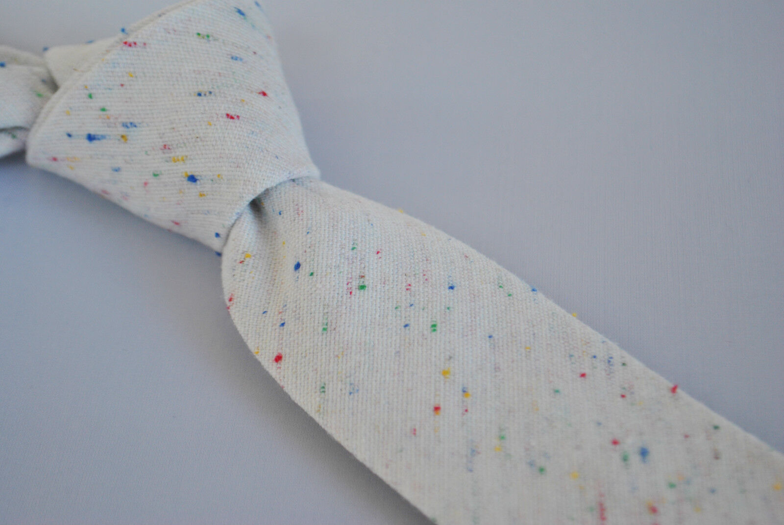 Skinny ivory speckled wool linen mens tie by Frederick Thomas FT1865